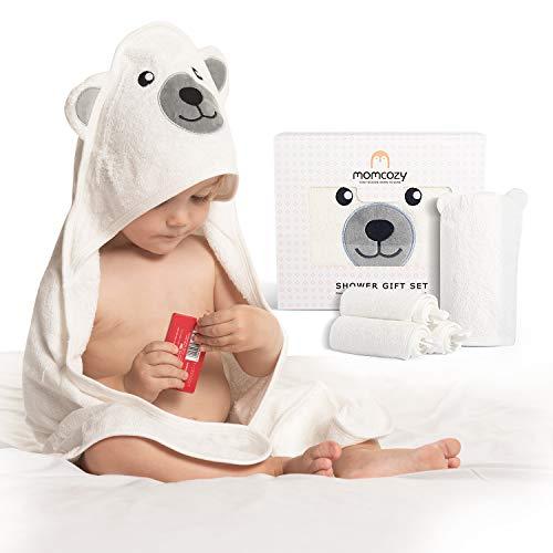 Momcozy Bambus Baby Badetücher Set 5er Pack, Babyhandtuch mit Kapuze 1 Stück, Baby Waschlappen 3 Stück, Baby Bad Handschuh 1 Stück, Extrem Weich, Atmungsaktiv, Geeignet für Mädchen und Jungen