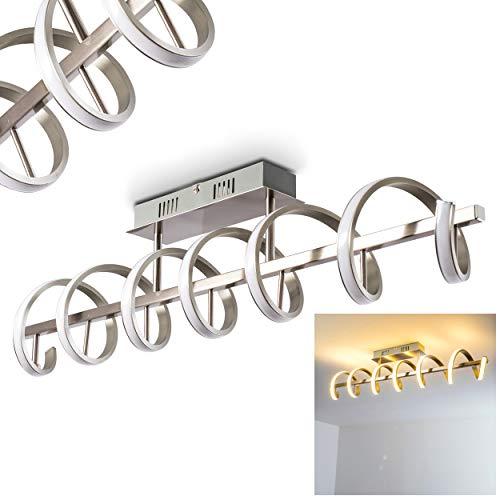 Plafonnier LED Aragno - Lustre chrome torsadée design - Luminaire pour salon, salle à manger, chambre à coucher et cuisine