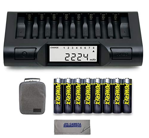 Powerex MH-C980 Turbo Charger Analyzer for AA/AAA Batteries with Powerex Pro Rechargeable AA NiMH Batteries 1.2V, 2700mAh 8-Pack and Powerex Accessory Padded Bag Travel Kit (New 2019 Model)