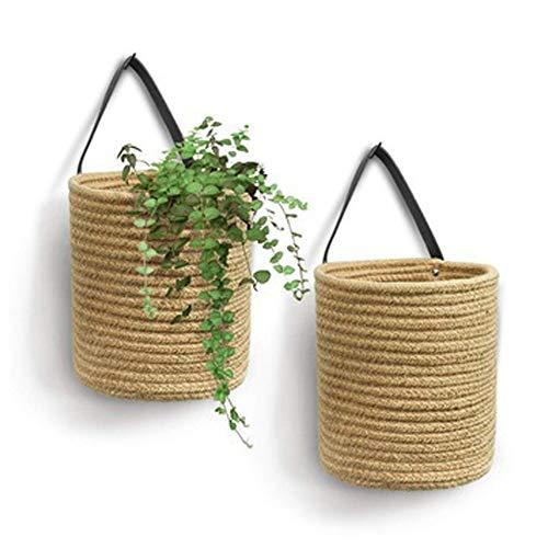 BSLVWG Aufbewahrungskörbe für Baumwollseile 2er Set,Webstoff Korb mit Ledergriff, Gewebte Bauernhaus Hängekorb Aufbewahrungsbehälter für Blumen, Pflanzen, Handtücher (Braun)