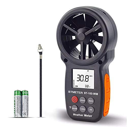 BTMETER デジタル風速計 風量計 風力計 気圧計 BT-100WM 風速&温度同時計測 風向 風速 計 簡易風量/高度/相対湿度/露点/大気測定 ドローンの飛行 登山 自動OFF バックライト HVAC CFM ストラップとドライバー付き 日本語取扱