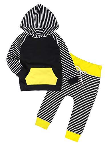 Edjude Sudaderas con Capucha Bebé Niño Otoño Conjuntos de Ropa Manga Larga con Bolsillo Pantalones 6-9 Meses Raya Negro