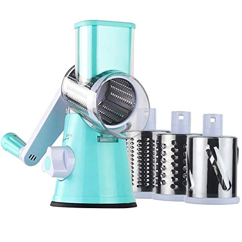 Manual Rotary Grater Vegetable Slicer Shredder Tumbling Box Changeable Peelers for Opinion Cucumber Carrot Potato Peeling Slicing Grinding Cheese Cutter Nut Grinder Home Kitchen Tools Accessories