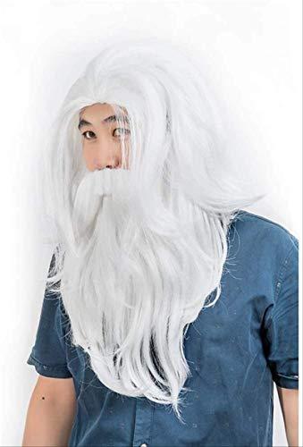 YOUKKGL Wigs City Traje Santa Barba Navidad Wig Set Deluxe Largo Blanco Santa Wig Y Barba, para Adultos Y Niños Hollywood Cosplay
