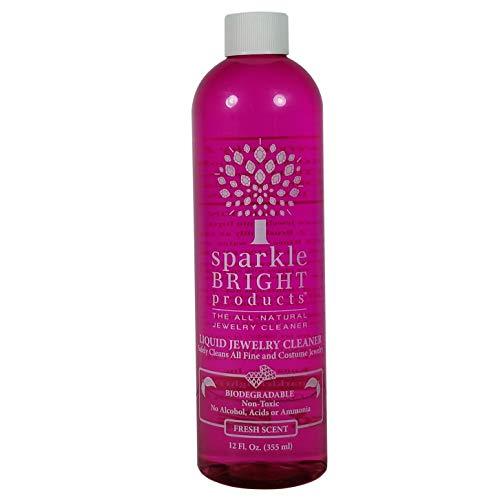 Sparkle Bright Products 100% natürlicher Schmuckreiniger | 355 ml Flüssigreiniger mit Hebeeinsatz & Kleiner Bürste