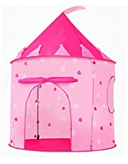 Portable Foldable Play Tent Prince Folding Pink Tent Kids Children Boy Castle Cubby Play House Kids Gifts Outdoor Toy Tents