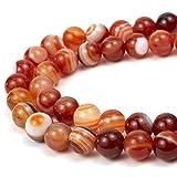 RVG 6mm Dark Carnelian Beads Round Gemstone Loose Stone Mala 15.5 in Strand for Jewelry Making (Approx 63-65 pcs)