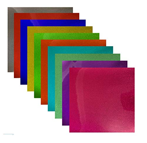 """Transparent Glitter Permanent Adhesive Vinyl 12"""" x 12"""" 10 Sheets/Pack for Craft Cutters,Sign Plotters"""