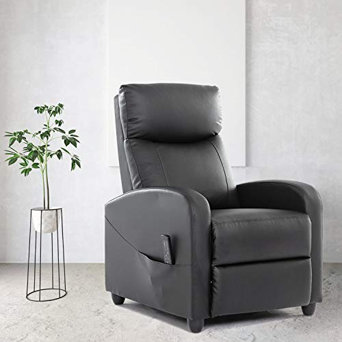 Recliner Chair Massage Single Sofa Armchair for Living Room Modern Ergonomic Adjustable Home Theater Seating Thicker Seat Backrest Cushion PU Leather (Black)