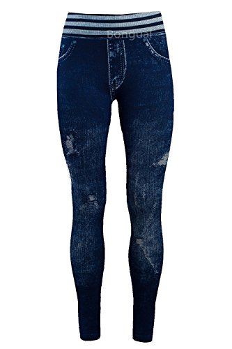 Bongual Damen Jeggings Jeans Optik Leggings Schlupfhose Treggings Sterne, Ethno, Blumen (One Size (36-42), Streifen)