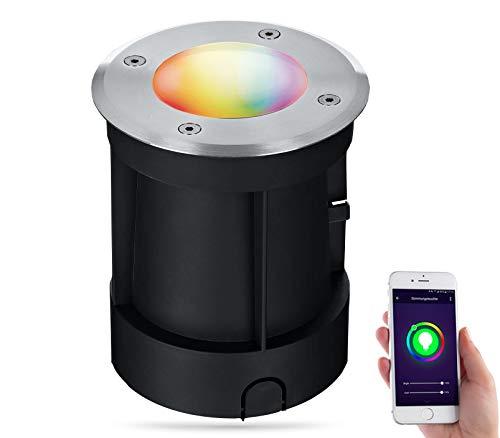 lambado® LED Bodenstrahler für Aussen mit RGB Farbwechsel dimmbar - Alexa & Google Home steuerbar via App - Bodenleuchte/Bodeneinbaustrahler IP67 aus Edelstahl - Befahrbar & Wasserdicht