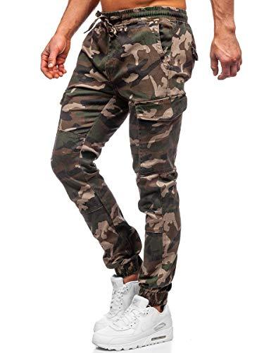 BOLF Hombre Pantalón Jogger Cargo Camuflaje Pantalones de Algodón Deporte Entrenamiento Slim Fit Estilo Urbano RESALSA RB8216XT Caqui XL [6F6]