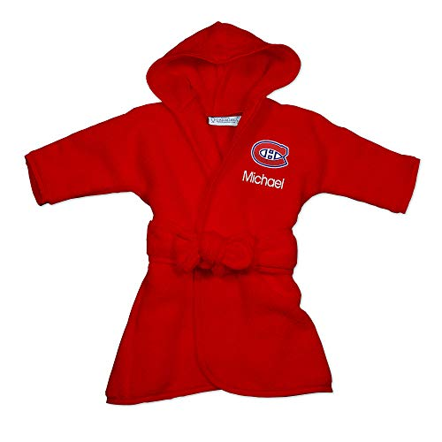 Montreal Canadiens Personalized Baby Bathrobe - Hooded Baby Robe with Embroidered Logo, Plush Cotton Terry Velour Fabric, Machine Washable (Red)