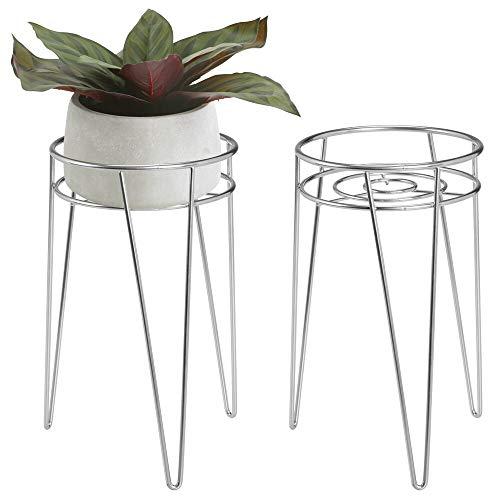 mDesign 2-er Set Midcentury Pflanzenständer für Blumen, Sukkulenten aus Metall – runder Blumenständer im modernen Design – platzsparende Blumensäule für drinnen und draußen – silberfarben