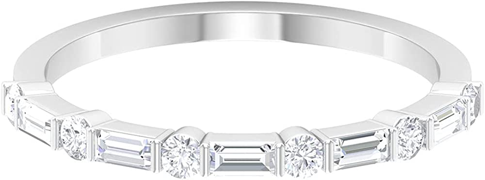 1/2 CT Baguette Round SGL Certified Diamond Anniversary Ring, 14K Solid Gold