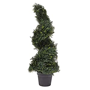 Silk Flower Arrangements Home Pure Garden 3-Foot-Tall Artificial Cypress Spiral Topiary Indoor or Outdoor UV Protection Trees in Pot Office