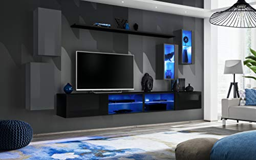 Wohnwand Anbauwand Forest mit Led Beleuchtung Viele Farben Schrankwand Möbel 21 (Grau+Schwarz)