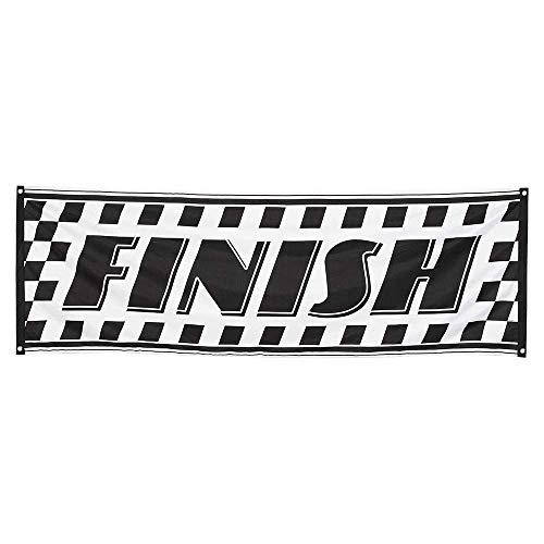 Boland 44751 - Dekorationsbanner Finish, 1 Stück, Größe 74 x 220 cm, Ziel, Formel 1, Rennwagen, Polyester, Banner, Wanddekoration, Mottoparty, Hängedekoration, Karneval, Geburtstag
