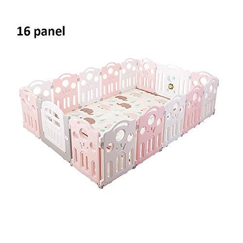 LY88 Zaun Baby Laufstall, 16 Zaunelemente, für Kinder, für drinnen und draußen, Rosa, C, 16 Panel