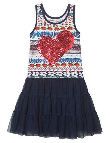 Desigual Mädchen Girl Knit Dress Straps (Vest_BRIDGERPORT) Kleid, Blau (Navy 5000), 140 (Herstellergröße: 9/10)