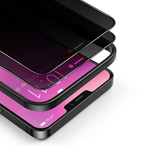 BANNIO Protector Pantalla Antiespias Compatible con iPhone 12 Mini,2 Unidades 3D Cobertura Completa Privacidad Cristal Templado Compatible con iPhone 12 Min,Anti Espía Vidrio Templado,Negro