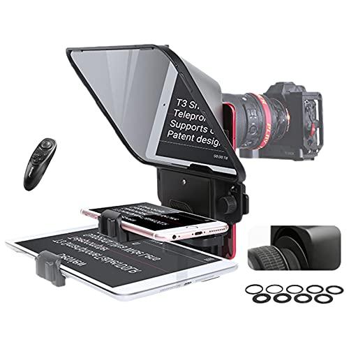 Desview T3 Teleprompter per Smartphone Tablet Fotocamera DSLR con telecomando Adattatori per obiettivi Supporta obiettivo grandangolare per il discorso sul palco Live Streaming Video online Vlog