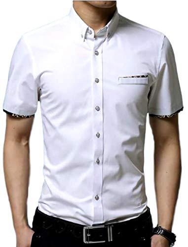(ナガポ)NAGAPO 半袖 ワイシャツ フォーマル カジュアル ビジネス シンプル スリム 無地 カッターシャツ (M, ホワイト)