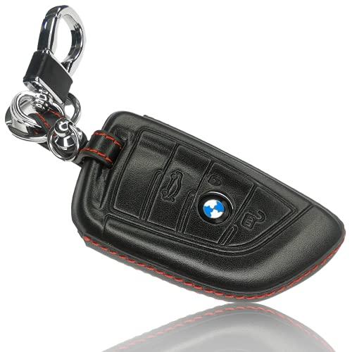 FoilsAndMore Hülle kompatibel mit BMW 3-4-Tasten Autoschlüssel (nur Keyless-Go) - Leder Schutzhülle Cover Schlüsselhülle in Schwarz Rot 4D
