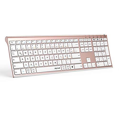 Jelly Comb Bluetooth Tastatur, Multi-Device Ultradünne Kabellose Bluetooth-Tastatur wiederaufladbar, Full-Size QWERTZ Funktastatur für PC, Tablet, Handy, Windows, iOS, Mac OS (Rosegold)
