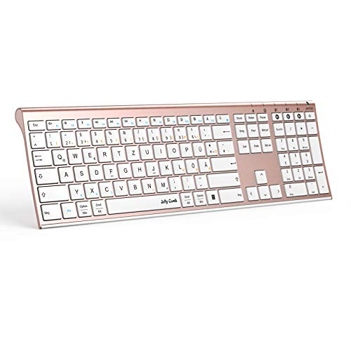 Jelly Comb Bluetooth Tastatur, Multi-Device Ultradünne Kabellose Bluetooth-Tastatur wiederaufladbar, Full-Size QWERTZ Funktastatur für PC, Tablet, Handy, Windows, iOS, Mac OS (Rosegold)