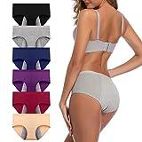 JojoQueen Women's Cotton Underwear,Mid Waist Solid Color Ladies Underwear Briefs Multipack Menstrual Panties...