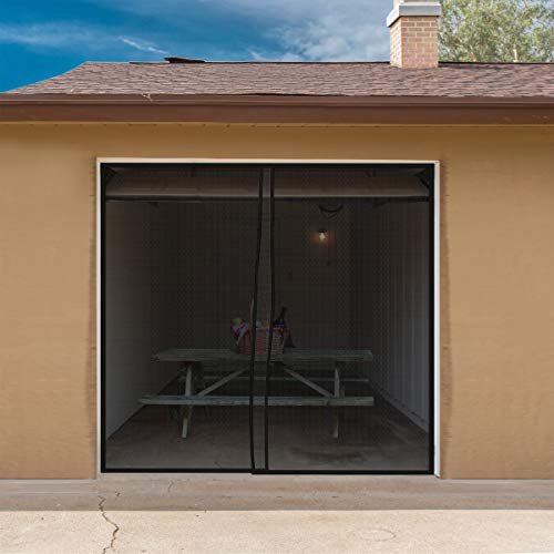 Magnetic Garage Door Screen for One Car Garage- Heavy Duty Weighted Garage Enclosure Curtain for Mosquito, Insect and Sun Protection by Pure Garden