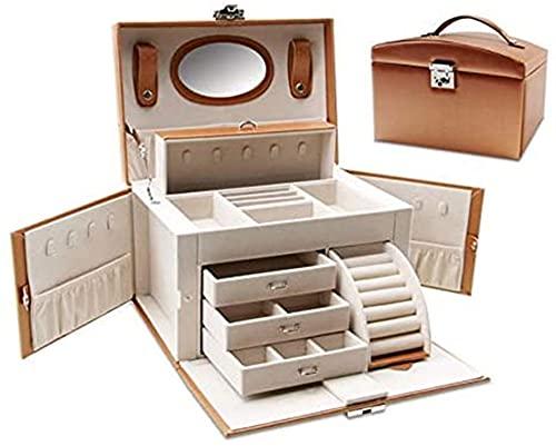 OH Caja de Alenamiento Multifuncional de Joyería de Joyería de Mujer Robusta Caja de Alenamiento para Artículos Pequeños Alenamiento Multiplaid Alenamiento Joyero Portátil/Marrón