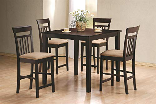 5-piece Counter Height Dining Set Cappuccino and Tan