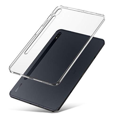 J&D Compatibile per Samsung Galaxy Tab S7+/Galaxy Tab S7 Plus Cover, [Cuscino Sottile] [Paraurti Leggero] [Trasparente] Antiurto Protettive Clear TPU Rubber Tablet Sottile Custodia per Galaxy Tab S7+