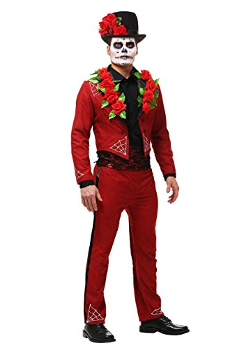 Men's Day of the Dead Costume Faux Suede Day of the Dead Suit X-Large