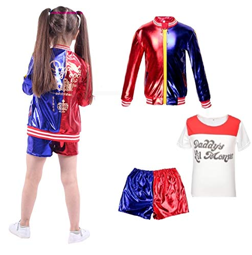 Abbigliamento per Bambini Bambina Suicide Squad Harley Quinn FancyDress CosplayCostume Outfit Coat Shorts T-Shirt Set Red (8-9 Years(130cm-140cm Child))