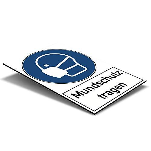 Gebotsschild/Warnschild 200x300x4 mm - Mundschutz tragen