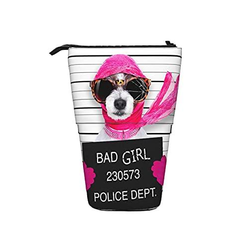 Lindo estuche para lápices,Diva Lady Girl Dog posando para una hermosa foto,como un cri,Estuche de lápices telescópico Stand Up Pen Bag, Cremallera Caja portátil Estuche de cosméticos Maquillaje