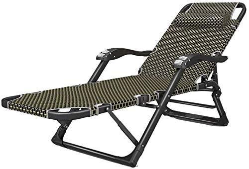 Al Aire Libre Plegable reclinable Sillón Cama Extra Ancho/Silla Plegable portátil Tumbona Heavy Duty Lazy Chair Sofá Oficina de la Siesta Plegable