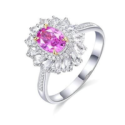 Bishilin Anillo de Mujer 750 Anillo de Compromiso, Flor 4 Prong 0.8ct Rosa Zafiro con Diamante Anillo de Compromiso de Boda Aniversario Cumpleaños Oro Blancotamaño: 9,5