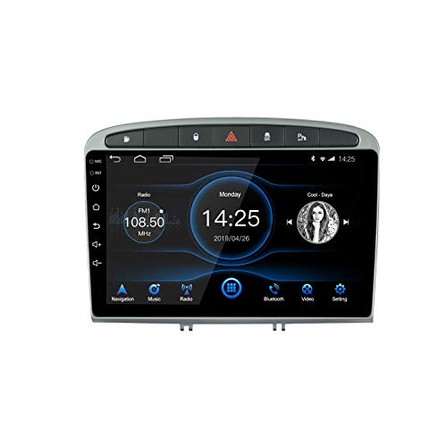 Ezonetronics Android 10.1 Autoradio Stereo 9 Zoll Fit für Peugeot 308/408 2010-2016 Kapazitiver Touchscreen Hochauflösende GPS-Navigation AM FM WiFi Bluetooth USB-Player 2G RAM + 16G ROM