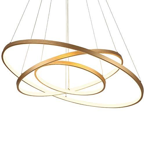 Wlnnes Dimmbare LED-Hängeleuchten Wohnzimmer Esszimmer Adjust Farbtemperatur 3000K-6000K Kronleuchter höhenverstellbare Kronleuchter Beleuchtung AC110V-240V (Color : Gold, Größe : 78w)