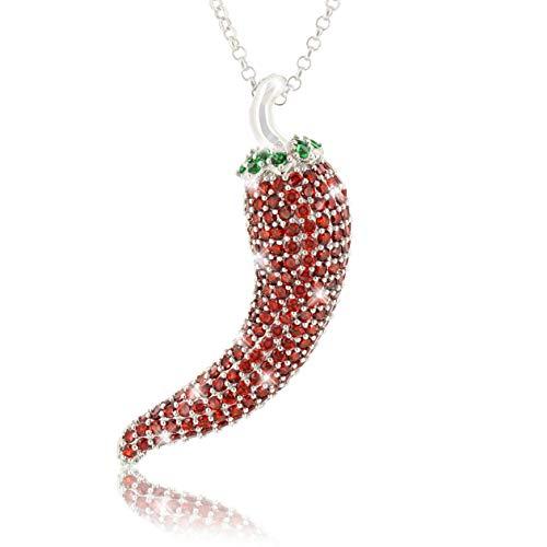 Collar de plata cadena de 42cm colgante de ají 925 zirconia cúbica chile pimiento rojo picante