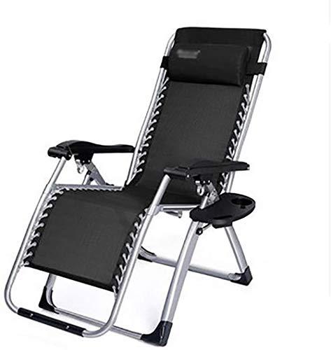 GBLight Beach Chair Sun Lounger Folding Sunbed Garden Chair Garden Chair Lunch Break Chair Simple Outdoor Beach Camping Chair with Cushion/Tray, Load 200kg, Length 180cm, Black