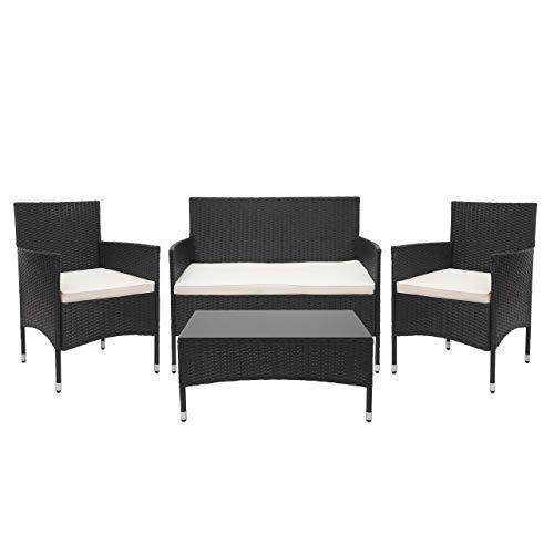 Mendler Garniture en polyrotin HWC-F55, Ensemble fauteuils, Banc et Table, Balcon/Jardin ~ Noir, Coussins crème