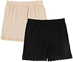 Liang Rou Women's Ultra Thin Stretch Short Leggings Lace Trim Black/Apricot S