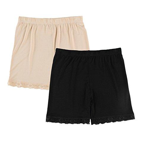 Liang Rou Spandex Mujeres Leggings Cortos Encaje Recorte 2-Pack Negro/Albaricoque XL