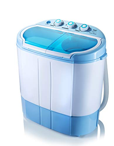 Upgraded Version Pyle Portable Washer & Spin Dryer, Mini Washing Machine, Twin Tubs, Spin Cycle w/ Hose, 11lbs. Capacity, 110V - Ideal For Compact Laundry
