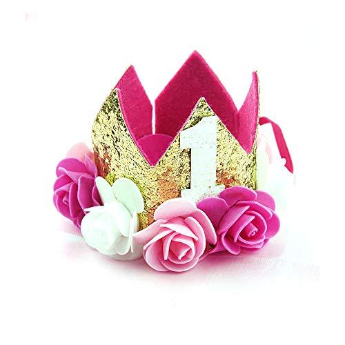 ysister Geburtstag Krone 1 Jahr Baby Krone Haarband Haarschmuck Prinzessin Haarband Stirnband Pink Blumen Geburtstag Hut Baby Haar Accessoire